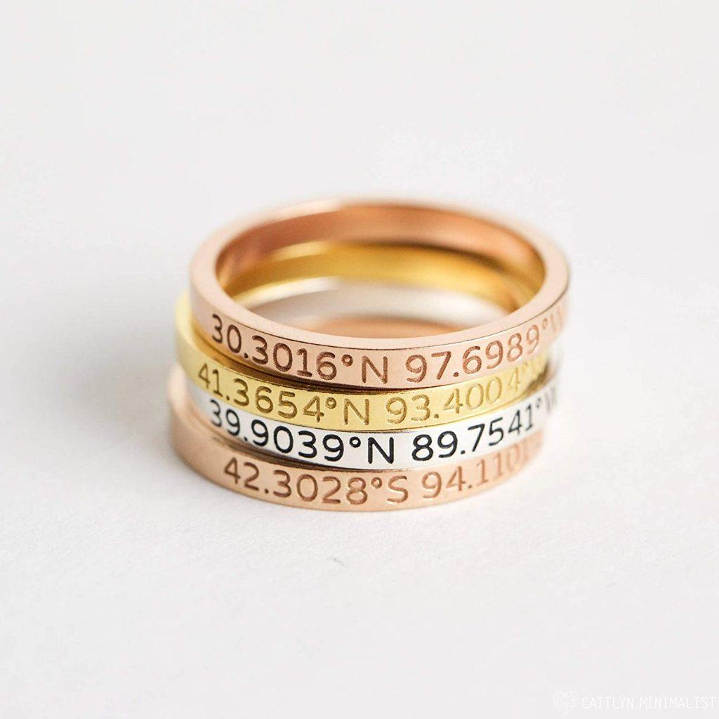 Custom Location Coordinates Ring Dainty Coordinates Stackable Band Latitude Longitude Ring