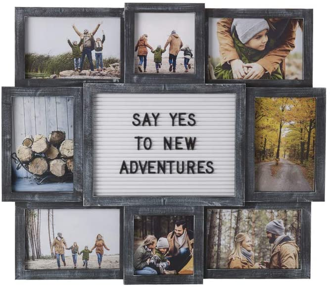 Customizable Letter Board with 8-Opening Photo Collage