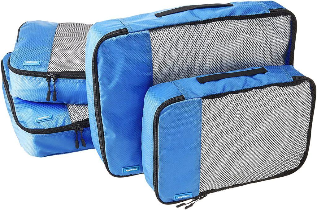AmazonBasics 4 Piece Packing Travel Organizer Cubes Set - 2 Medium and 2 Large, Blue