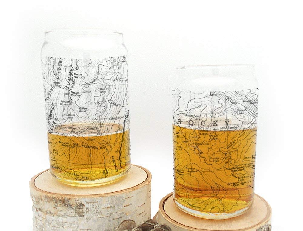 Can Glass Set - Rocky Mountain National Park Topographic Map