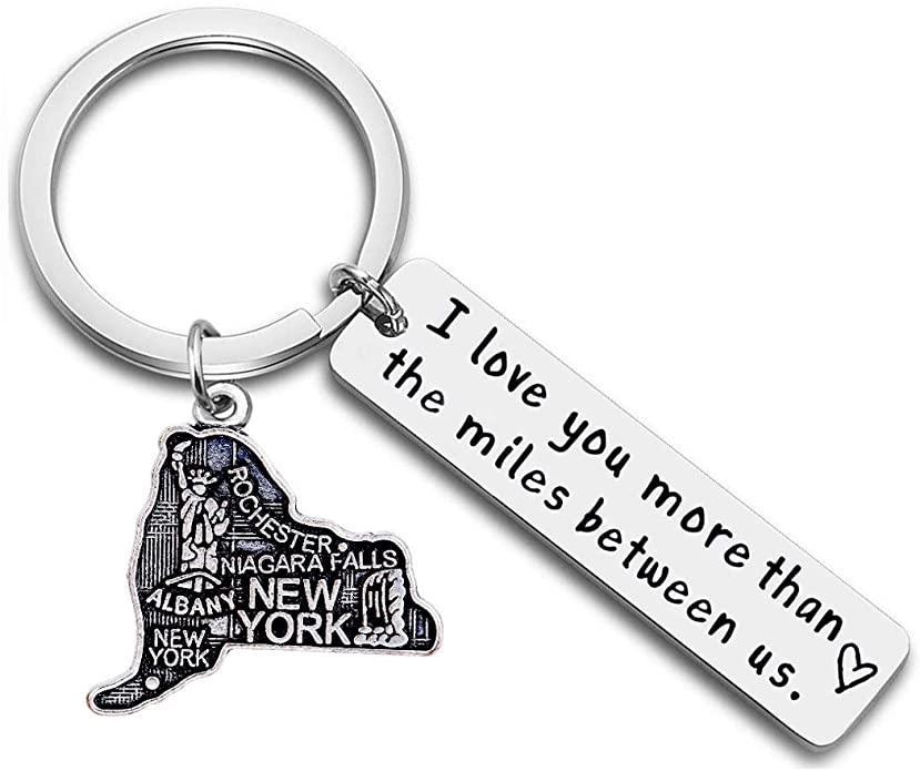 I Love You More Than The Miles Between Us Long Distance Relationship State Map Keychain Going Away Gift Travel Gift