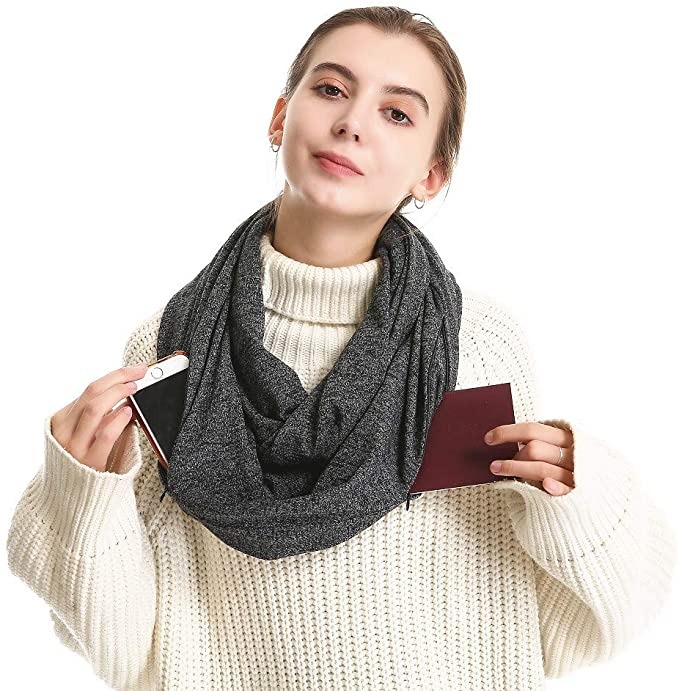 Travel Scarf with Hidden Zippers